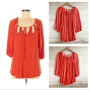 ANTHRO VANESSA VIRGINIA ORANGE KNIT TOP